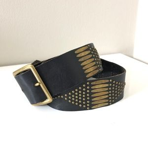 Calleen Cordero Bronze Studded Brown Leather Belt